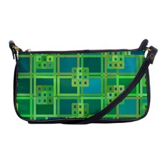 Green Abstract Geometric Shoulder Clutch Bags
