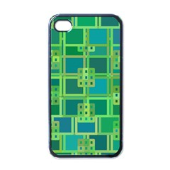 Green Abstract Geometric Apple Iphone 4 Case (black)