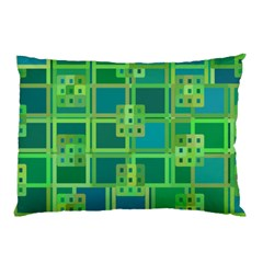 Green Abstract Geometric Pillow Case (Two Sides)