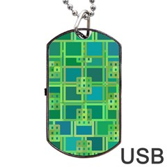 Green Abstract Geometric Dog Tag Usb Flash (one Side)