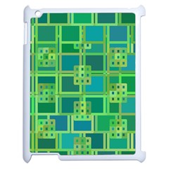 Green Abstract Geometric Apple iPad 2 Case (White)