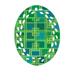 Green Abstract Geometric Oval Filigree Ornament (two Sides)