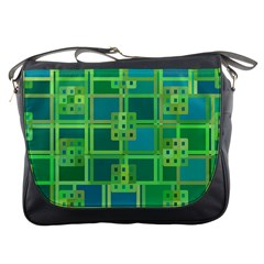 Green Abstract Geometric Messenger Bags