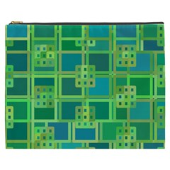 Green Abstract Geometric Cosmetic Bag (xxxl)