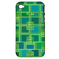 Green Abstract Geometric Apple Iphone 4/4s Hardshell Case (pc+silicone)