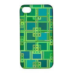 Green Abstract Geometric Apple Iphone 4/4s Hardshell Case With Stand