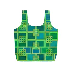 Green Abstract Geometric Full Print Recycle Bags (S)