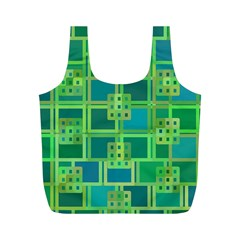 Green Abstract Geometric Full Print Recycle Bags (m)