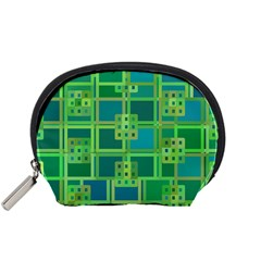 Green Abstract Geometric Accessory Pouches (small)