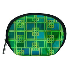 Green Abstract Geometric Accessory Pouches (Medium)