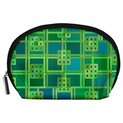 Green Abstract Geometric Accessory Pouches (Large)