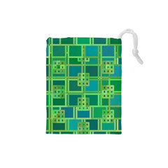 Green Abstract Geometric Drawstring Pouches (small)