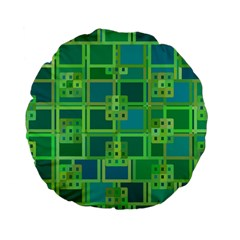 Green Abstract Geometric Standard 15  Premium Flano Round Cushions