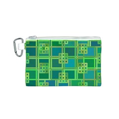 Green Abstract Geometric Canvas Cosmetic Bag (S)