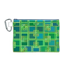 Green Abstract Geometric Canvas Cosmetic Bag (M)