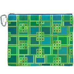 Green Abstract Geometric Canvas Cosmetic Bag (XXXL)