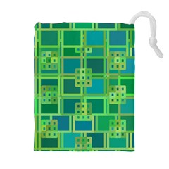 Green Abstract Geometric Drawstring Pouches (Extra Large)