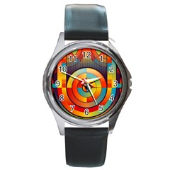 Abstract Pattern Background Round Metal Watch