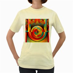 Abstract Pattern Background Women s Yellow T-Shirt