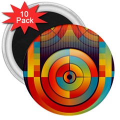 Abstract Pattern Background 3  Magnets (10 Pack)