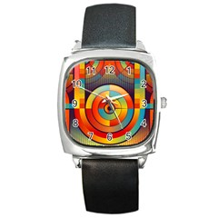 Abstract Pattern Background Square Metal Watch