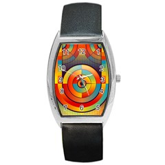Abstract Pattern Background Barrel Style Metal Watch
