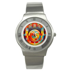 Abstract Pattern Background Stainless Steel Watch