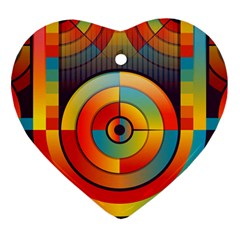 Abstract Pattern Background Heart Ornament (Two Sides)