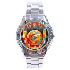 Abstract Pattern Background Stainless Steel Analogue Watch