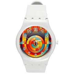 Abstract Pattern Background Round Plastic Sport Watch (M)