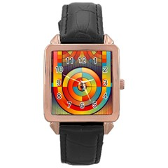 Abstract Pattern Background Rose Gold Leather Watch