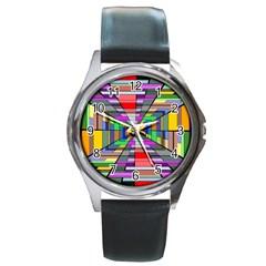 Art Vanishing Point Vortex 3d Round Metal Watch