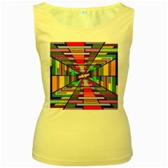 Art Vanishing Point Vortex 3d Women s Yellow Tank Top