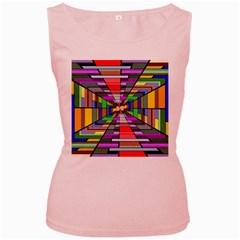 Art Vanishing Point Vortex 3d Women s Pink Tank Top