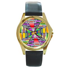 Art Vanishing Point Vortex 3d Round Gold Metal Watch