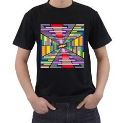 Art Vanishing Point Vortex 3d Men s T-Shirt (Black) (Two Sided)