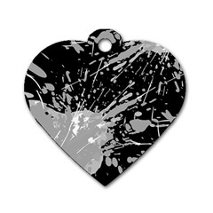 Art About Ball Abstract Colorful Dog Tag Heart (One Side)