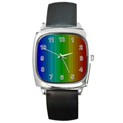 Spectrum Colours Colors Rainbow Square Metal Watch