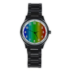 Spectrum Colours Colors Rainbow Stainless Steel Round Watch