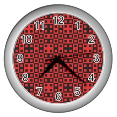 Abstract Background Red Black Wall Clocks (silver)