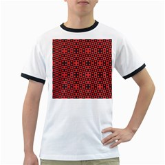Abstract Background Red Black Ringer T-Shirts