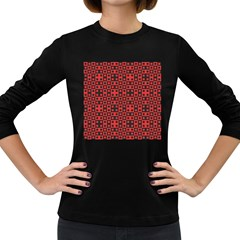Abstract Background Red Black Women s Long Sleeve Dark T-Shirts