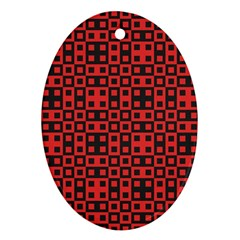 Abstract Background Red Black Oval Ornament (Two Sides)