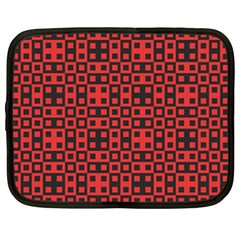 Abstract Background Red Black Netbook Case (Large)