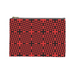 Abstract Background Red Black Cosmetic Bag (Large)