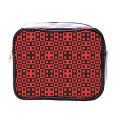 Abstract Background Red Black Mini Toiletries Bags