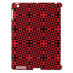Abstract Background Red Black Apple iPad 3/4 Hardshell Case (Compatible with Smart Cover)