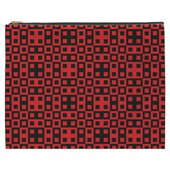 Abstract Background Red Black Cosmetic Bag (XXXL)