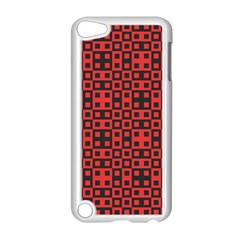 Abstract Background Red Black Apple iPod Touch 5 Case (White)