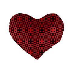 Abstract Background Red Black Standard 16  Premium Flano Heart Shape Cushions